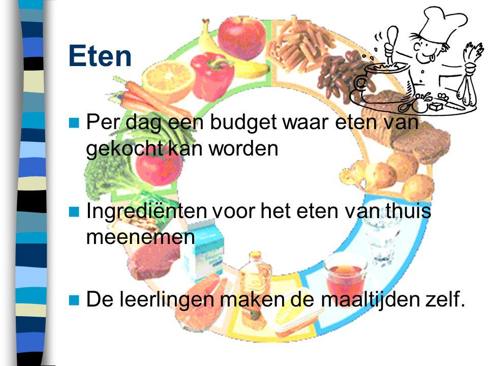 Eten  Per dag een budget waar eten van gekocht kan worden  Ingrediënten voor het eten van thuis meenemen  De leerlingen maken de maaltijden zelf.