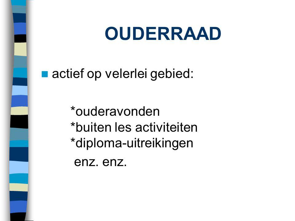 OUDERRAAD  actief op velerlei gebied: *ouderavonden *buiten les activiteiten *diploma-uitreikingen enz. enz.