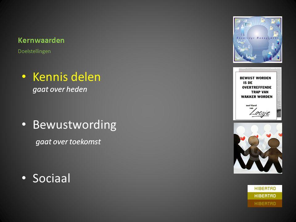 Kernwaarden • Kennis delen gaat over heden • Bewustwording gaat over toekomst • Sociaal Doelstellingen