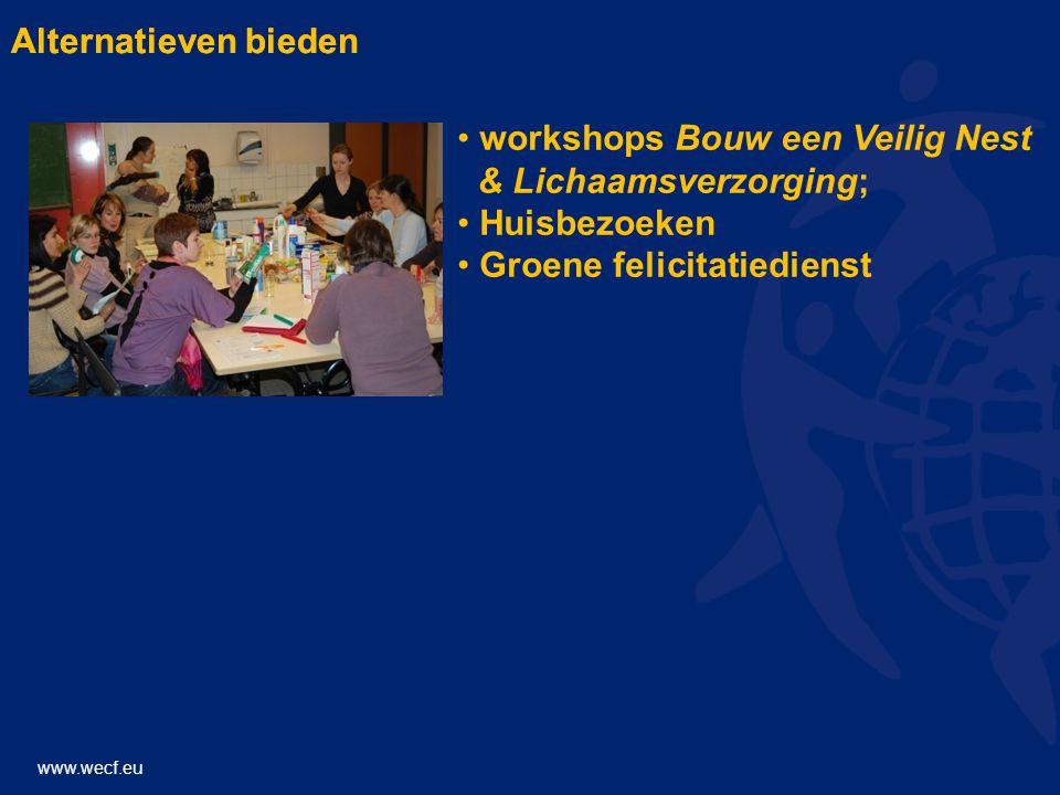 www.wecf.eu Alternatieven bieden • workshops Bouw een Veilig Nest & Lichaamsverzorging; • Huisbezoeken • Groene felicitatiedienst