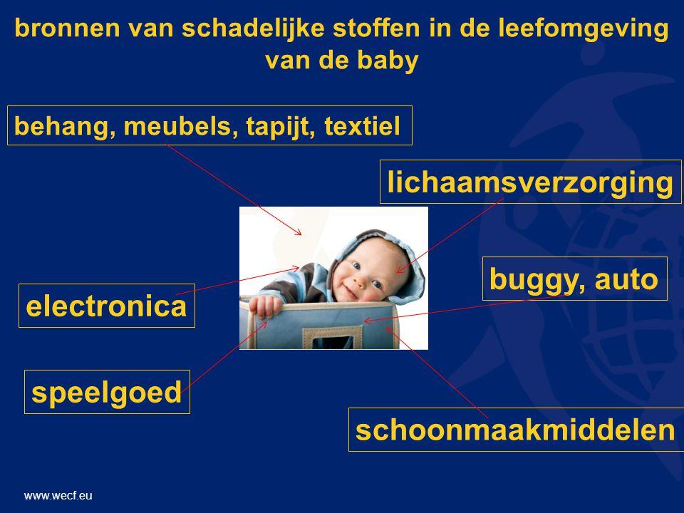 www.wecf.eu bronnen van schadelijke stoffen in de leefomgeving van de baby electronica behang, meubels, tapijt, textiel schoonmaakmiddelen lichaamsverzorging buggy, auto speelgoed