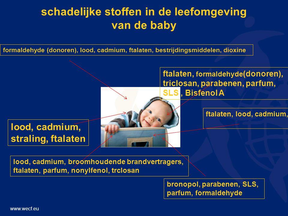 www.wecf.eu schadelijke stoffen in de leefomgeving van de baby lood, cadmium, straling, ftalaten formaldehyde (donoren), lood, cadmium, ftalaten, bestrijdingsmiddelen, dioxine bronopol, parabenen, SLS, parfum, formaldehyde ftalaten, formaldehyde (donoren), triclosan, parabenen, parfum, SLS, Bisfenol A ftalaten, lood, cadmium, lood, cadmium, broomhoudende brandvertragers, ftalaten, parfum, nonylfenol, trclosan