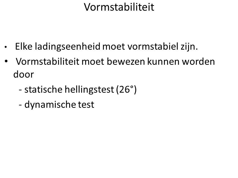 Vormstabiliteit • Elke ladingseenheid moet vormstabiel zijn. • Vormstabiliteit moet bewezen kunnen worden door - statische hellingstest (26°) - dynami