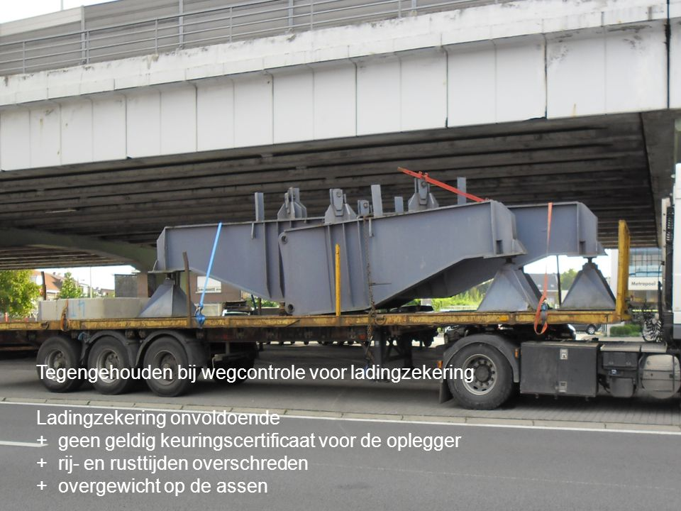 Tegengehouden bij wegcontrole voor ladingzekering Ladingzekering onvoldoende + geen geldig keuringscertificaat voor de oplegger + rij- en rusttijden o