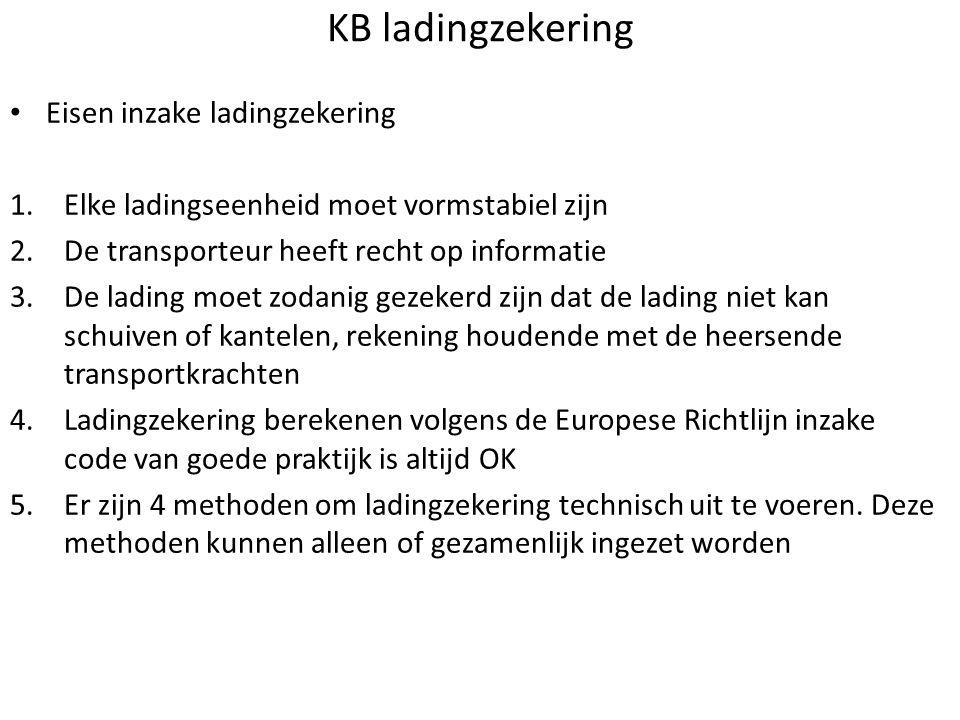 KB ladingzekering • Eisen inzake ladingzekering 1.Elke ladingseenheid moet vormstabiel zijn 2.De transporteur heeft recht op informatie 3.De lading mo