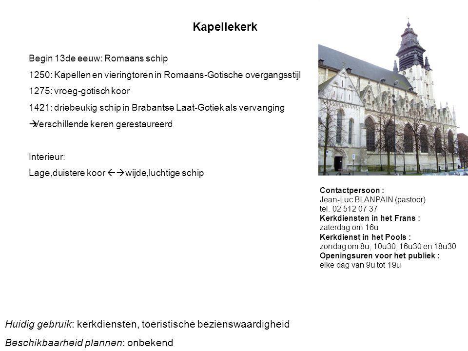 Kapellekerk Begin 13de eeuw: Romaans schip 1250: Kapellen en vieringtoren in Romaans-Gotische overgangsstijl 1275: vroeg-gotisch koor 1421: driebeukig