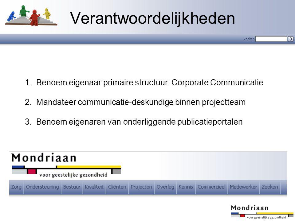 1.Benoem eigenaar primaire structuur: Corporate Communicatie 2.