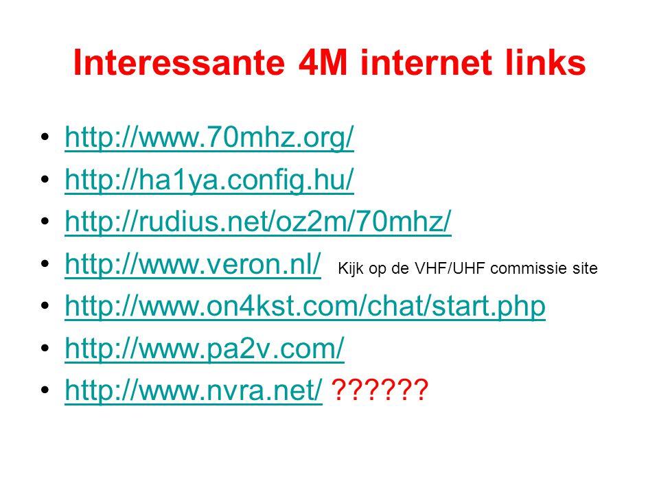 Interessante 4M internet links •http://www.70mhz.org/http://www.70mhz.org/ •http://ha1ya.config.hu/http://ha1ya.config.hu/ •http://rudius.net/oz2m/70m