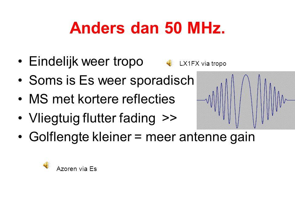 Anders dan 50 MHz. •Eindelijk weer tropo LX1FX via tropo •Soms is Es weer sporadisch •MS met kortere reflecties •Vliegtuig flutter fading >> •Golfleng