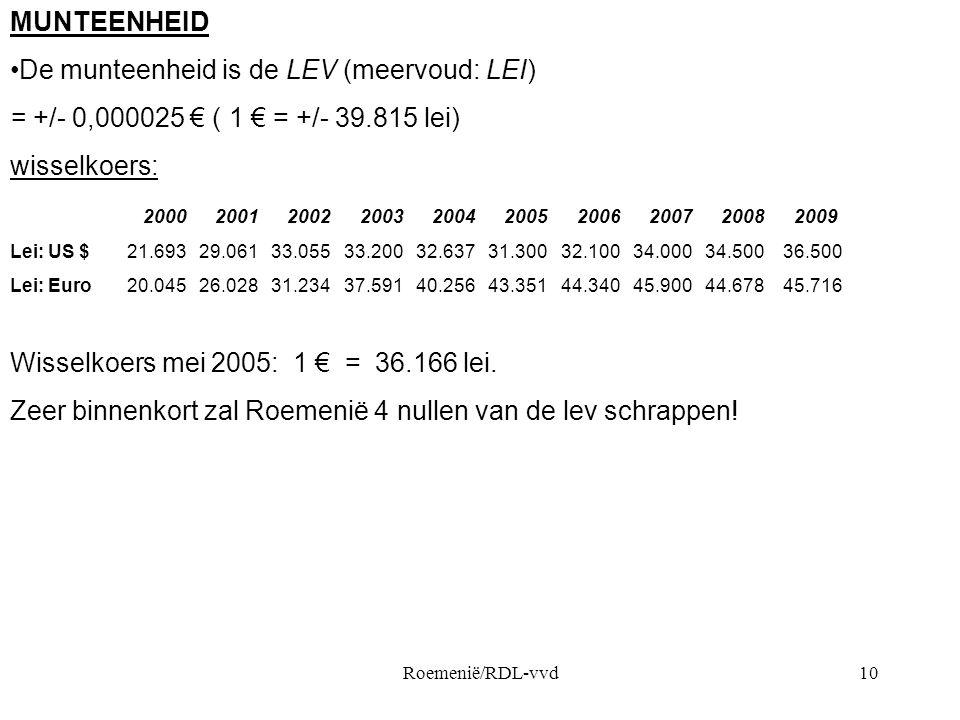 Roemenië/RDL-vvd10 MUNTEENHEID •De munteenheid is de LEV (meervoud: LEI) = +/- 0,000025 € ( 1 € = +/- 39.815 lei) wisselkoers: 2000 2001 2002 2003 2004 2005 2006 2007 2008 2009 Lei: US $ 21.693 29.061 33.055 33.200 32.637 31.300 32.100 34.000 34.500 36.500 Lei: Euro 20.045 26.028 31.234 37.591 40.256 43.351 44.340 45.900 44.678 45.716 Wisselkoers mei 2005: 1 € = 36.166 lei.
