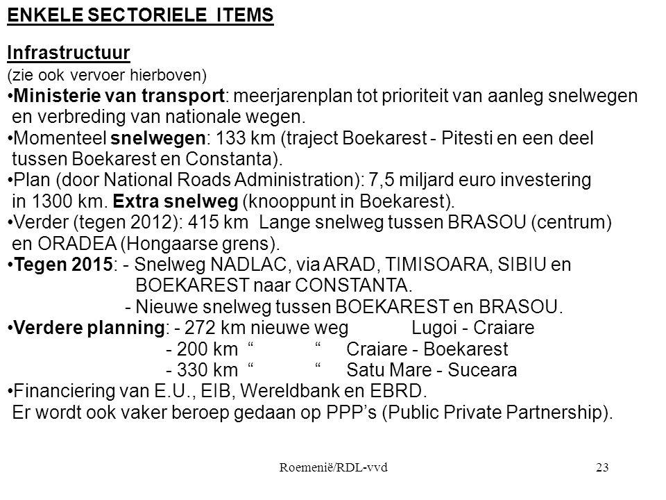 Roemenië/RDL-vvd23 ENKELE SECTORIELE ITEMS Infrastructuur (zie ook vervoer hierboven) •Ministerie van transport: meerjarenplan tot prioriteit van aanleg snelwegen en verbreding van nationale wegen.