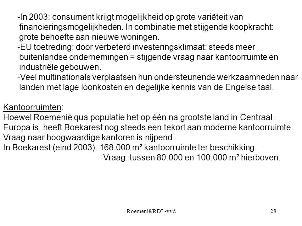 Roemenië/RDL-vvd28 -In 2003: consument krijgt mogelijkheid op grote variëteit van financieringsmogelijkheden. In combinatie met stijgende koopkracht: