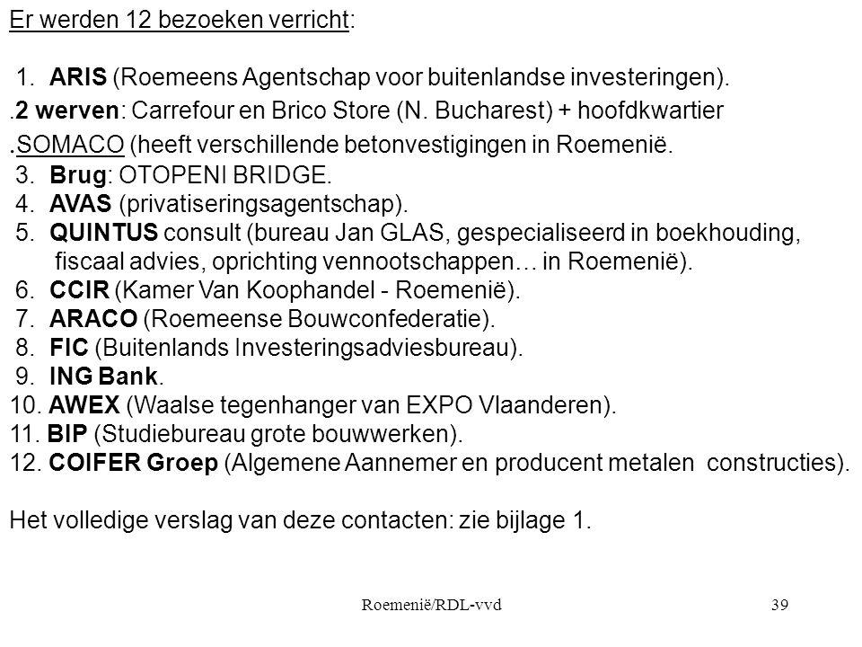 Roemenië/RDL-vvd39 Er werden 12 bezoeken verricht: 1. ARIS (Roemeens Agentschap voor buitenlandse investeringen).. 2 werven: Carrefour en Brico Store