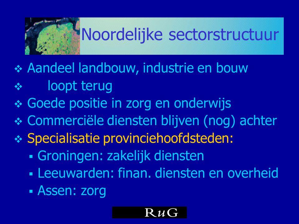Noordelijke sectorstructuur  Aandeel landbouw, industrie en bouw  loopt terug  Goede positie in zorg en onderwijs  Commerciële diensten blijven (n
