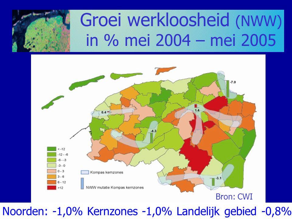 Groei werkloosheid (NWW) in % mei 2004 – mei 2005 Bron: CWI Noorden: -1,0% Kernzones -1,0% Landelijk gebied -0,8%