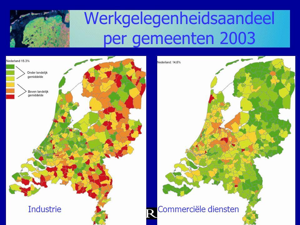 Werkgelegenheidsaandeel per gemeenten 2003 IndustrieCommerciële diensten