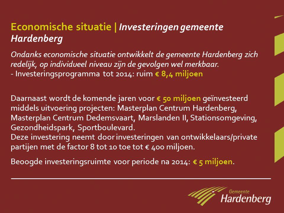 Economische situatie | Investeringen gemeente Hardenberg Ondanks economische situatie ontwikkelt de gemeente Hardenberg zich redelijk, op individueel niveau zijn de gevolgen wel merkbaar.