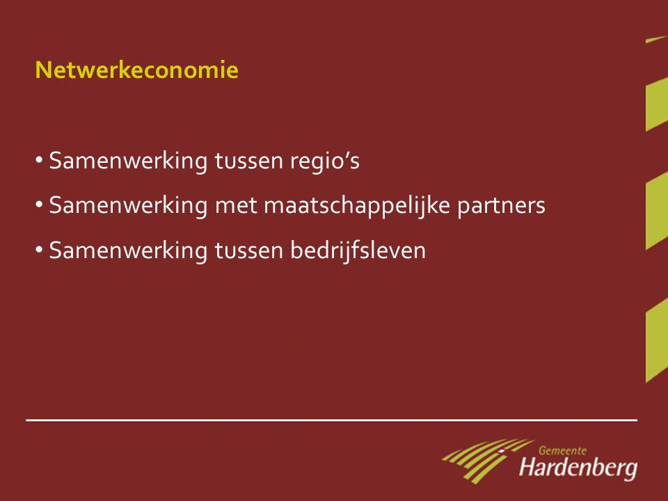 Netwerkeconomie • Samenwerking tussen regio's • Samenwerking met maatschappelijke partners • Samenwerking tussen bedrijfsleven