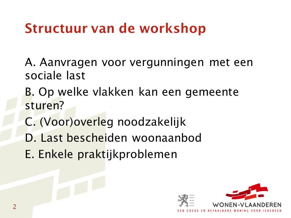 2 Structuur van de workshop A. Aanvragen voor vergunningen met een sociale last B. Op welke vlakken kan een gemeente sturen? C. (Voor)overleg noodzake