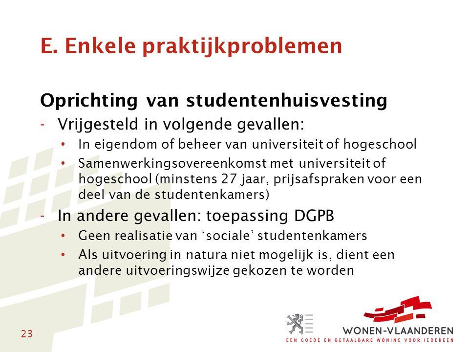 23 E. Enkele praktijkproblemen Oprichting van studentenhuisvesting -Vrijgesteld in volgende gevallen: • In eigendom of beheer van universiteit of hoge