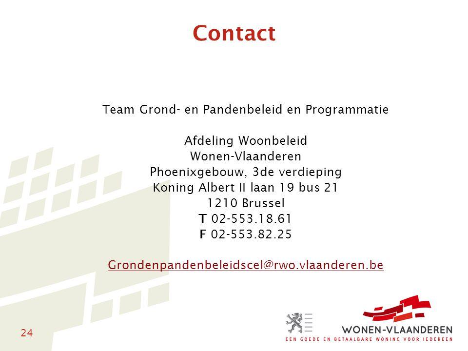 24 Contact Team Grond- en Pandenbeleid en Programmatie Afdeling Woonbeleid Wonen-Vlaanderen Phoenixgebouw, 3de verdieping Koning Albert II laan 19 bus