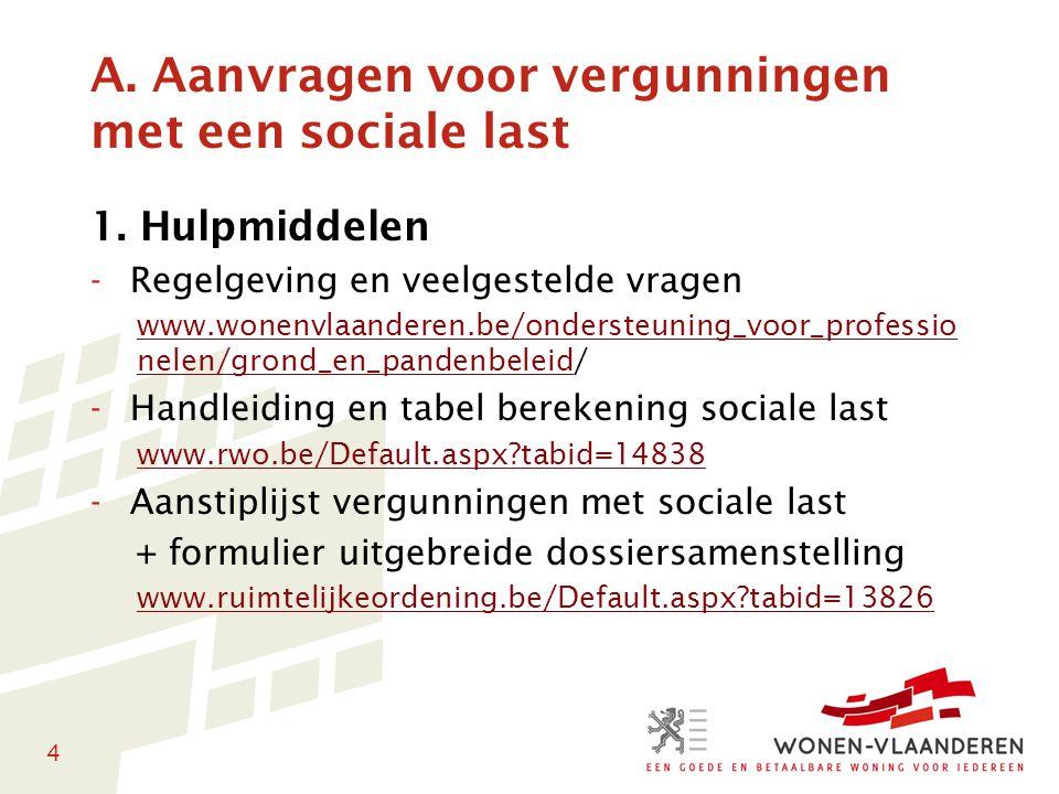 4 A. Aanvragen voor vergunningen met een sociale last 1. Hulpmiddelen -Regelgeving en veelgestelde vragen www.wonenvlaanderen.be/ondersteuning_voor_pr