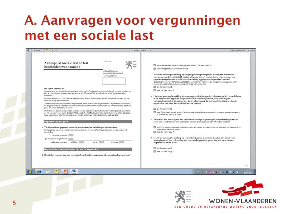 5 A. Aanvragen voor vergunningen met een sociale last