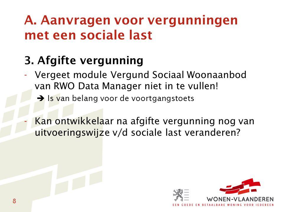 8 A. Aanvragen voor vergunningen met een sociale last 3. Afgifte vergunning -Vergeet module Vergund Sociaal Woonaanbod van RWO Data Manager niet in te