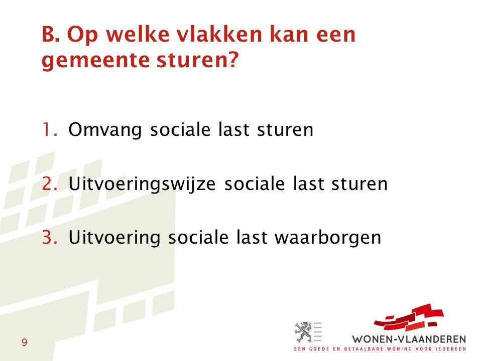 9 B. Op welke vlakken kan een gemeente sturen? 1.Omvang sociale last sturen 2.Uitvoeringswijze sociale last sturen 3.Uitvoering sociale last waarborge