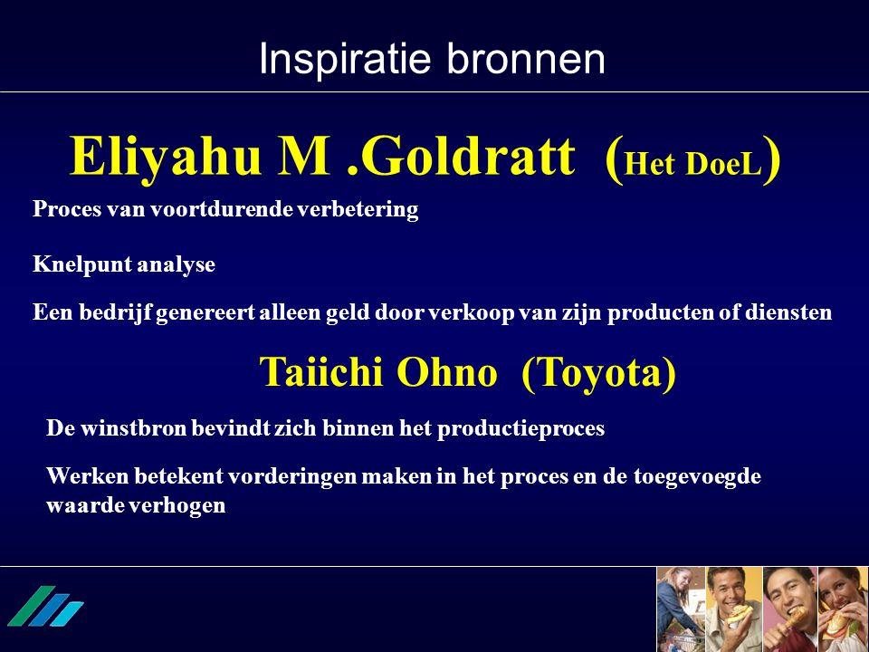Inspiratie bronnen Eliyahu M.Goldratt ( Het DoeL ) Taiichi Ohno (Toyota) De winstbron bevindt zich binnen het productieproces Werken betekent vorderin