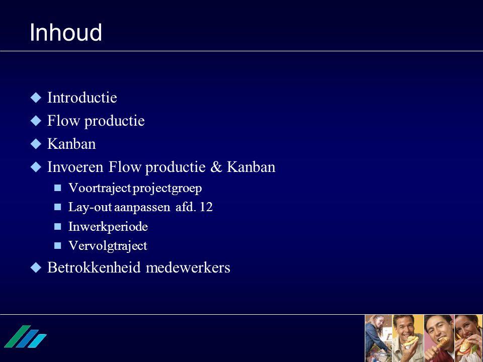 Inhoud  Introductie  Flow productie  Kanban  Invoeren Flow productie & Kanban  Voortraject projectgroep  Lay-out aanpassen afd. 12  Inwerkperio