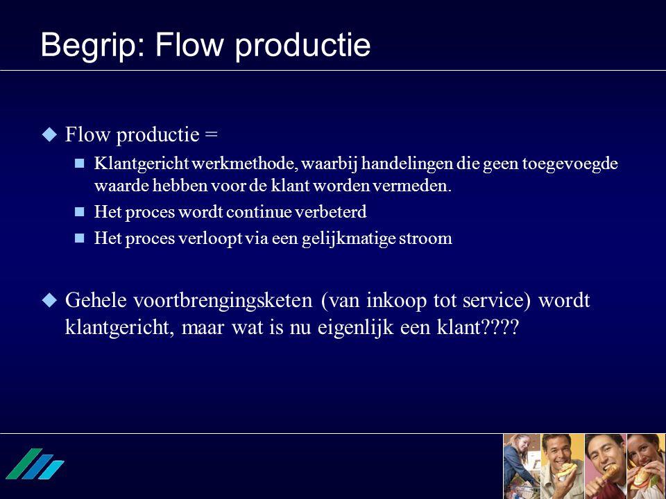 Begrip: Flow productie  Flow productie =  Klantgericht werkmethode, waarbij handelingen die geen toegevoegde waarde hebben voor de klant worden verm