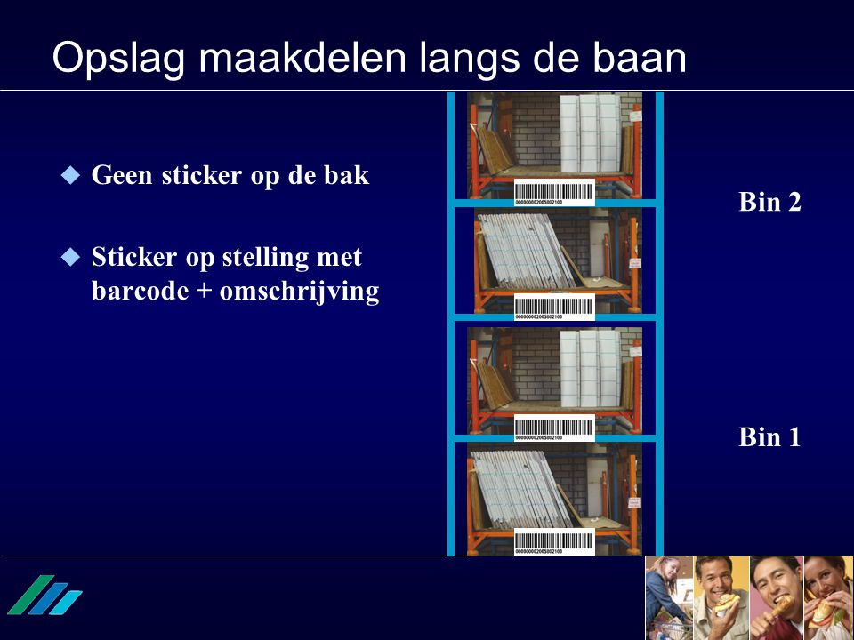 Opslag maakdelen langs de baan Bin 1 Bin 2  Geen sticker op de bak  Sticker op stelling met barcode + omschrijving