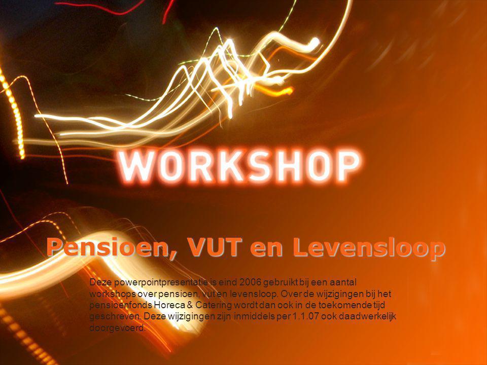 Pensioen, VUT en Levensloop Deze powerpointpresentatie is eind 2006 gebruikt bij een aantal workshops over pensioen, vut en levensloop.