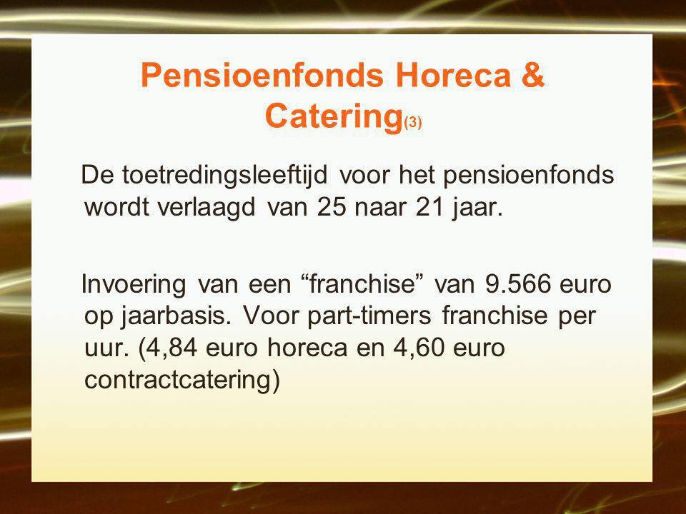 Pensioenfonds Horeca & Catering (3) De toetredingsleeftijd voor het pensioenfonds wordt verlaagd van 25 naar 21 jaar.