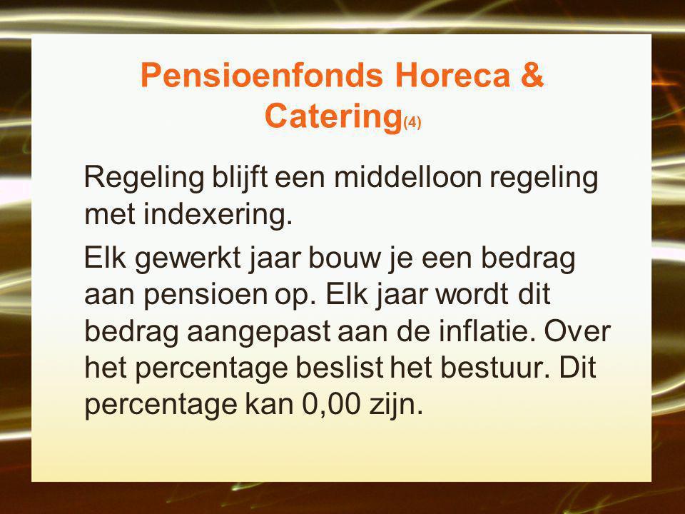 Pensioenfonds Horeca & Catering (4) Regeling blijft een middelloon regeling met indexering.