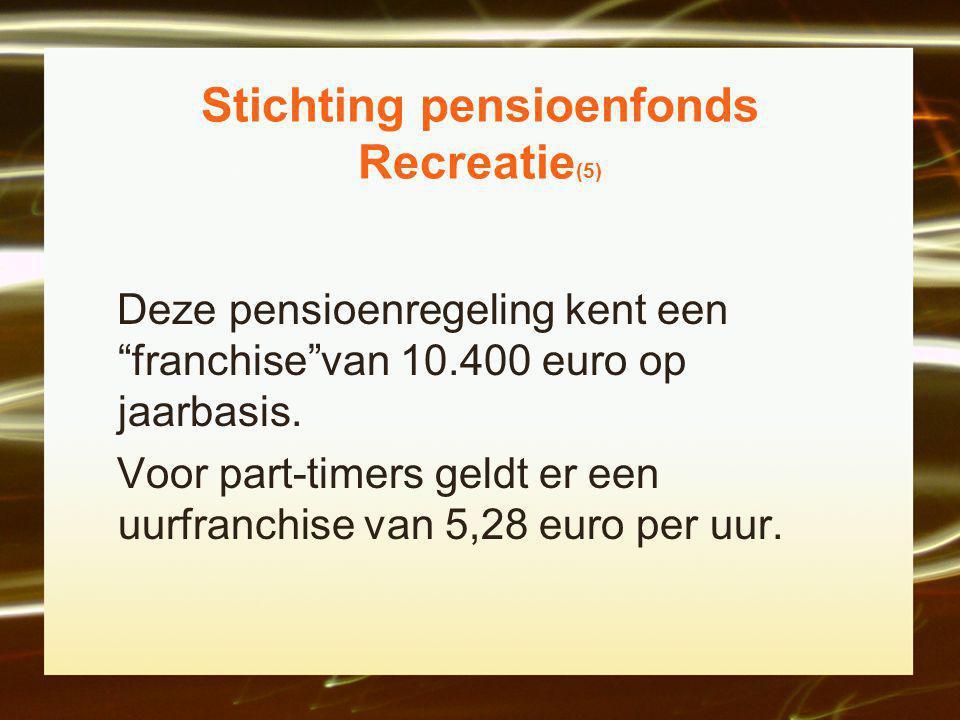 Stichting pensioenfonds Recreatie (5) Deze pensioenregeling kent een franchise van 10.400 euro op jaarbasis.