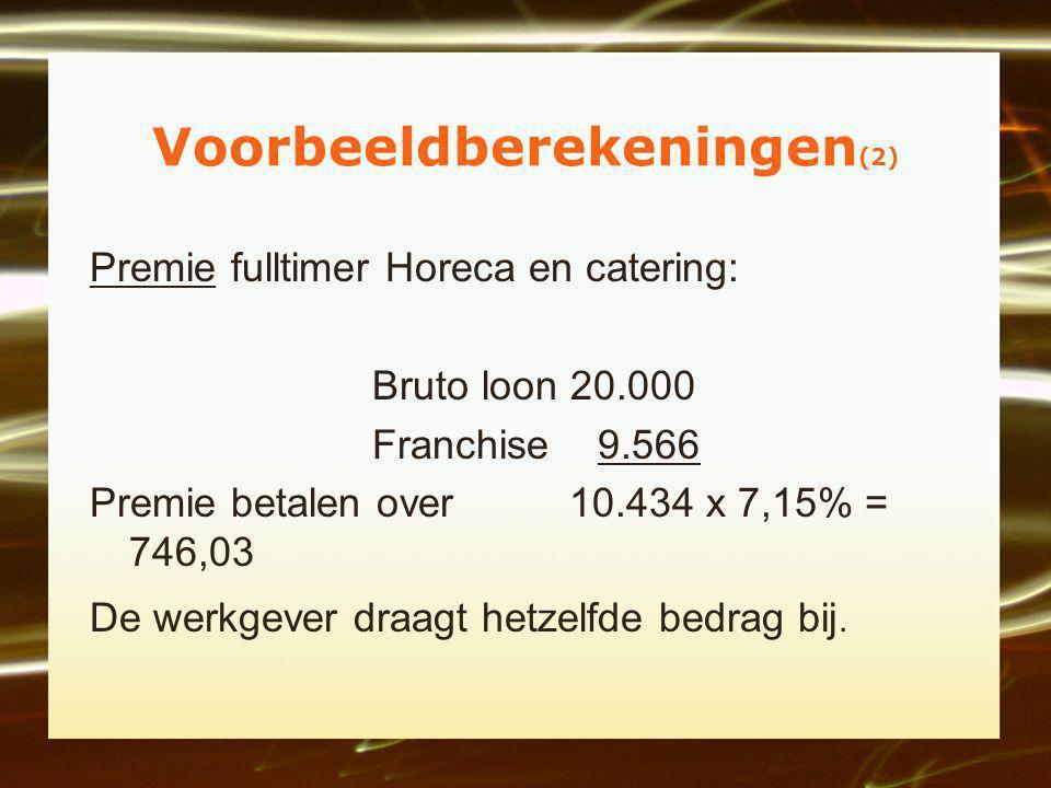 Voorbeeldberekeningen (2) Premie fulltimer Horeca en catering: Bruto loon 20.000 Franchise 9.566 Premie betalen over 10.434 x 7,15% = 746,03 De werkgever draagt hetzelfde bedrag bij.