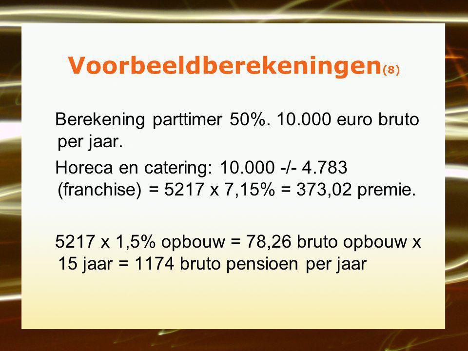 Voorbeeldberekeningen (8) Berekening parttimer 50%.