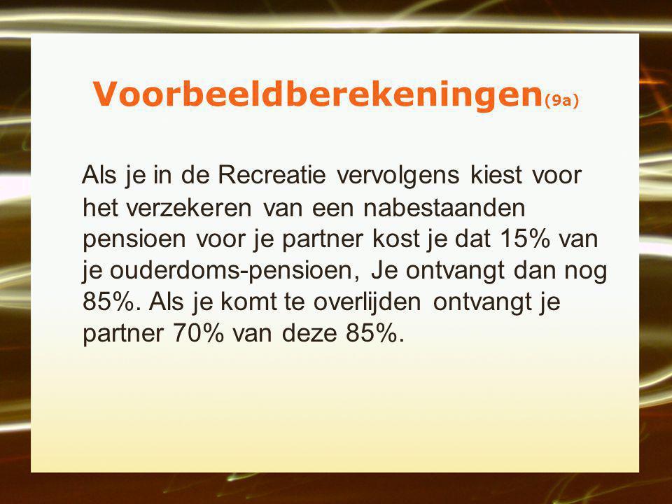 Voorbeeldberekeningen (9a) Als je in de Recreatie vervolgens kiest voor het verzekeren van een nabestaanden pensioen voor je partner kost je dat 15% van je ouderdoms-pensioen, Je ontvangt dan nog 85%.