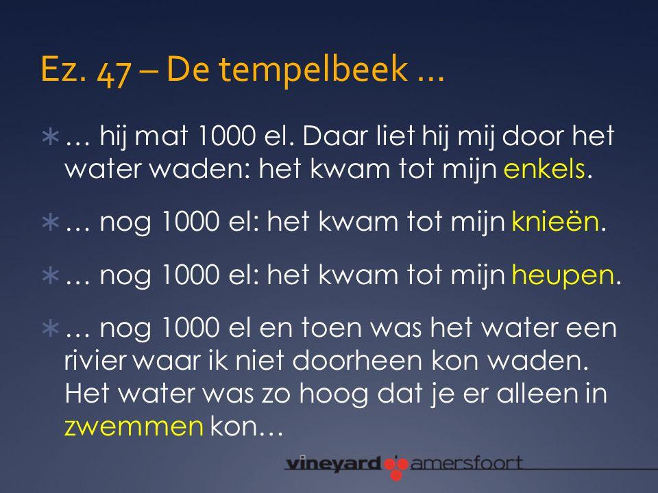 Ez. 47 – De tempelbeek …  … hij mat 1000 el. Daar liet hij mij door het water waden: het kwam tot mijn enkels.  … nog 1000 el: het kwam tot mijn kni