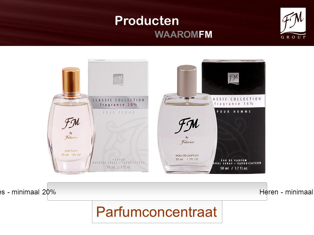 Dames - minimaal 20% Heren - minimaal 16% Parfumconcentraat Producten WAAROMFM