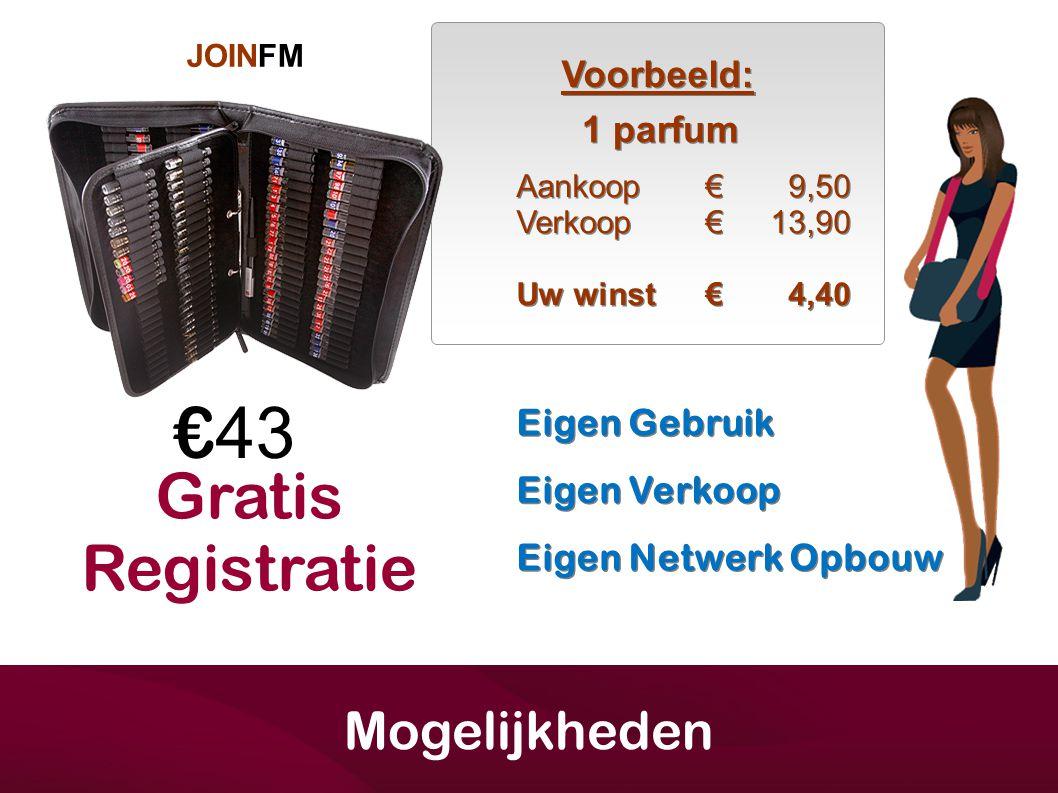 JOINFM € 43 1 parfum Aankoop€ Verkoop€ Uw winst€ Aankoop€ Verkoop€ Uw winst€ 9,50 13,90 4,40 9,50 13,90 4,40 Mogelijkheden Voorbeeld: Eigen Verkoop Ei