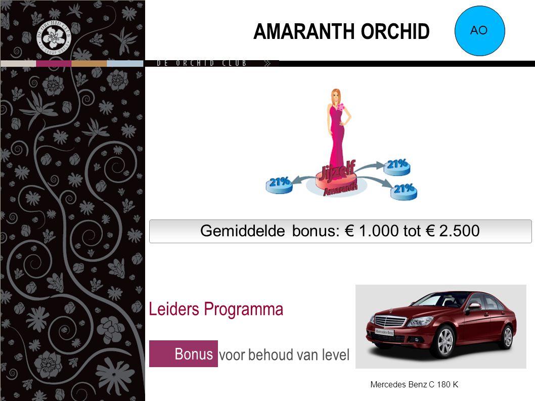 Gemiddelde bonus: € 1.000 tot € 2.500 AMARANTH ORCHID AO Bonus voor behoud van level Leiders Programma Mercedes Benz C 180 K