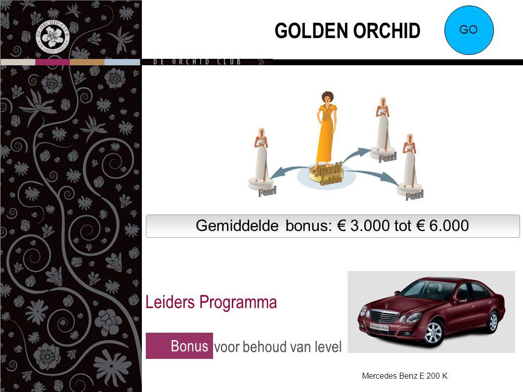 Gemiddelde bonus: € 3.000 tot € 6.000 GOLDEN ORCHID GO Bonus voor behoud van level Leiders Programma Mercedes Benz E 200 K