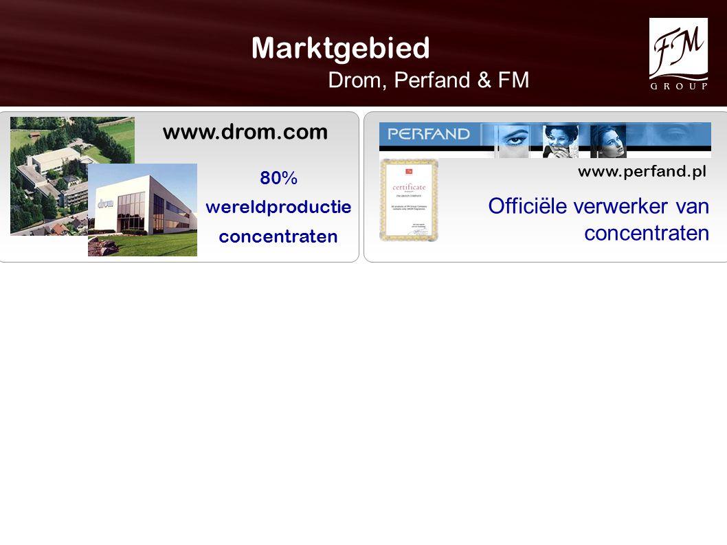 Marktgebied Drom, Perfand & FM www.drom.com www.perfand.pl 80% wereldproductie concentraten Officiële verwerker van concentraten