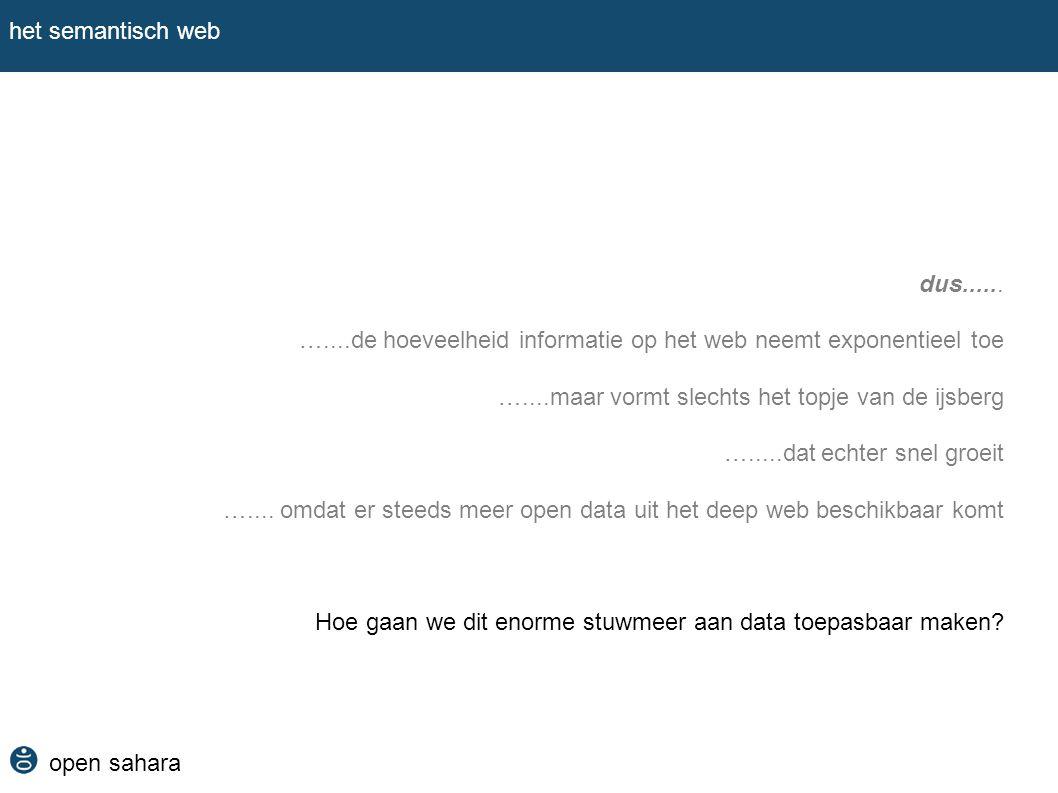 open sahara het semantisch web dus...... …....de hoeveelheid informatie op het web neemt exponentieel toe …....maar vormt slechts het topje van de ijs