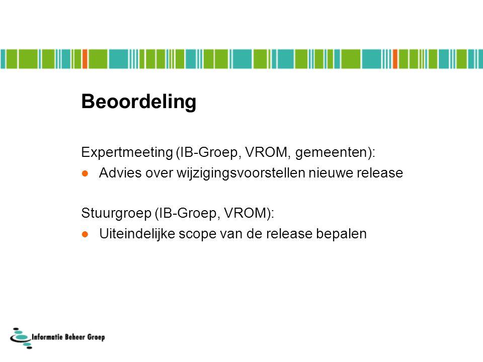 Beoordeling Expertmeeting (IB-Groep, VROM, gemeenten):  Advies over wijzigingsvoorstellen nieuwe release Stuurgroep (IB-Groep, VROM):  Uiteindelijke scope van de release bepalen