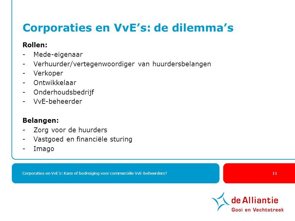 Corporaties en VvE's: Kans of bedreiging voor commerciële VvE-beheerders? 11 Corporaties en VvE's: de dilemma's Rollen: -Mede-eigenaar -Verhuurder/ver