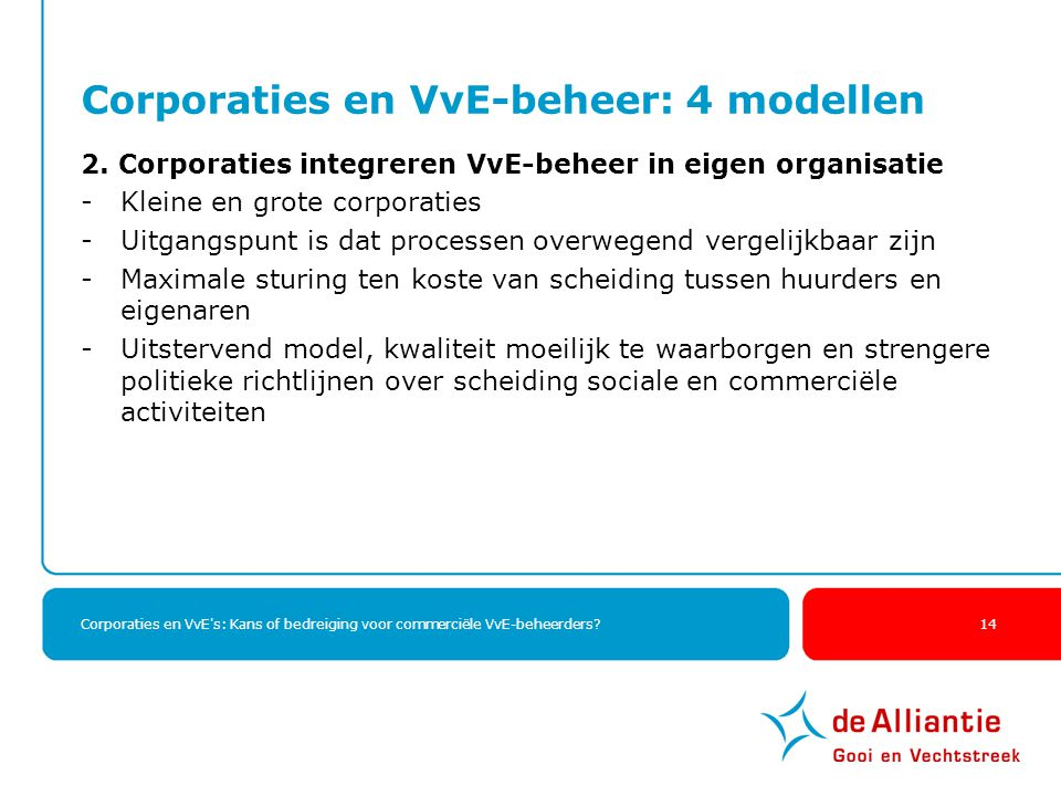 Corporaties en VvE's: Kans of bedreiging voor commerciële VvE-beheerders? 14 Corporaties en VvE-beheer: 4 modellen 2. Corporaties integreren VvE-behee